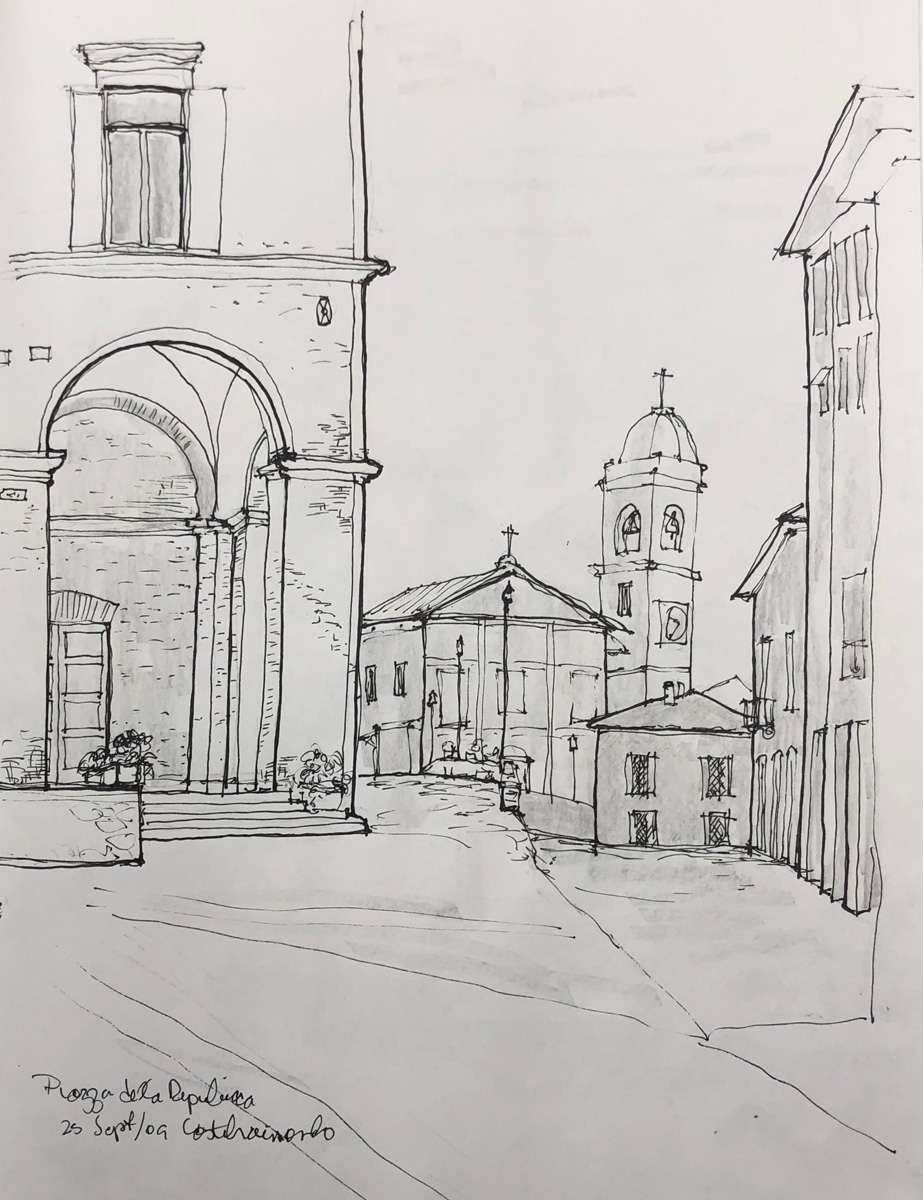 Piazza at Castelraimondo by John Archer